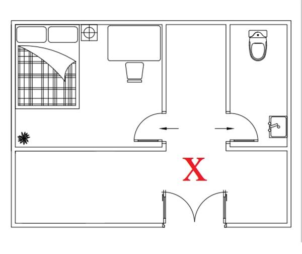 Cửa phòng vệ sinh không đặt đối diện cửa phòng ngủ