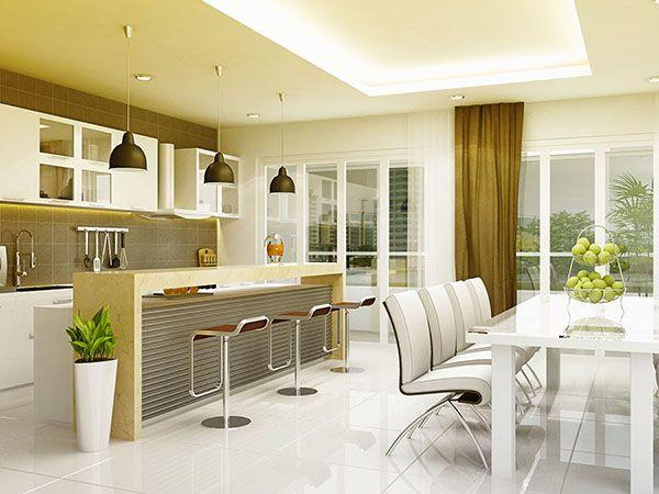 Không gian phòng khách và phòng bếp liên thông