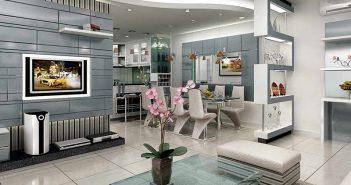 Phòng khách liên thông với bếp nhà chung cư cần lưu ý điều gì