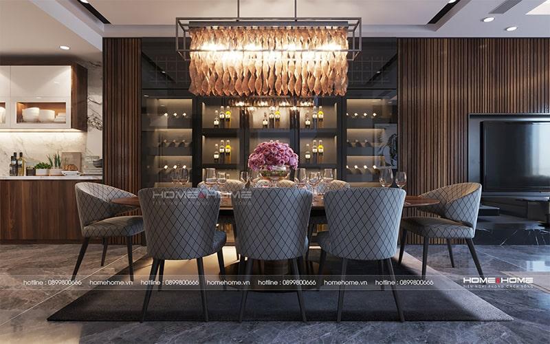 Bộ đèn vô cùng nổi bật trong tổng thể không gian ăn của căn hộ
