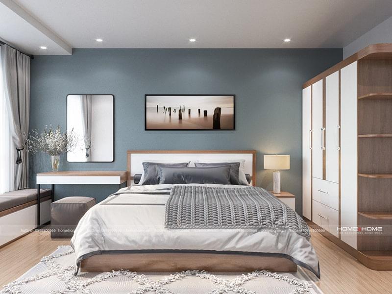 Phòng ngủ với nội thất đơn giản hài hòa mang đến cảm giác thư giãn cho chủ nhân căn hộ