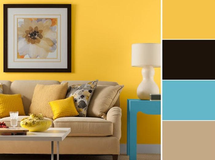 Cách phối hợp màu nội thất với màu sơn vàng đất chủ đạo