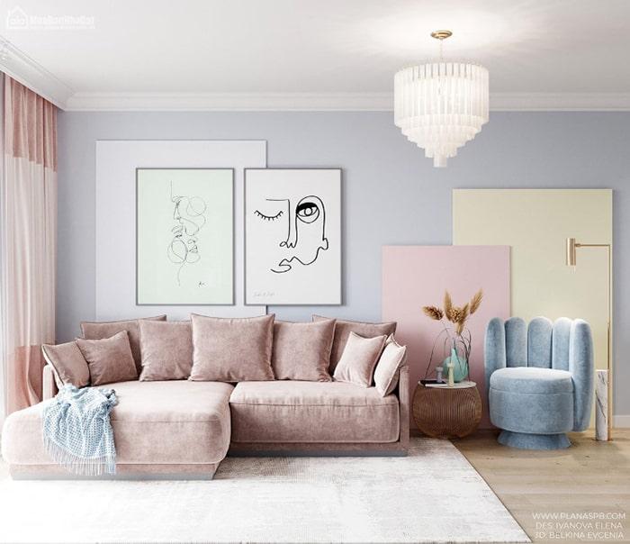 Tường sơn màu xanh tím Pastel nhẹ nhàng