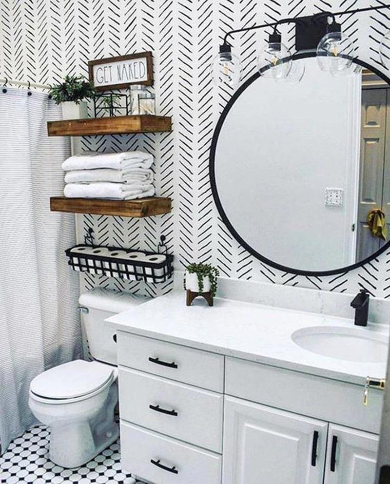 Gợi ý về cách bày trí tủ, kệ treo cho phòng tắm