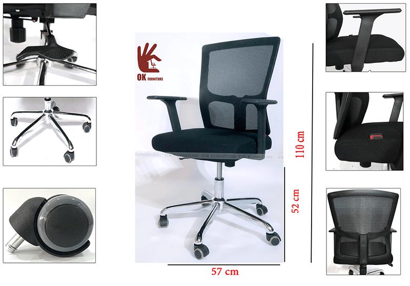 Chọn ghế nhân viên với kích thước tiêu chuẩn