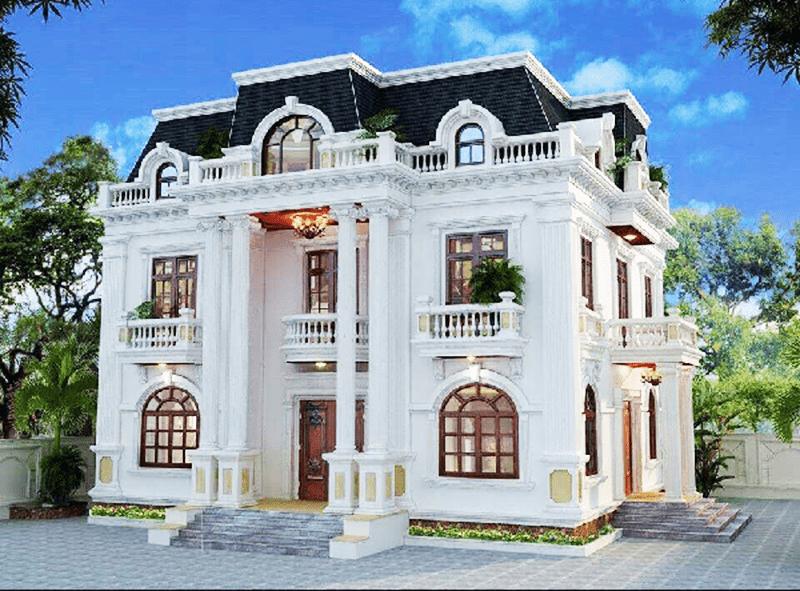 Mẫu biệt thự 2 tầng đẹp thiết kế theo phong cách tân cổ điển