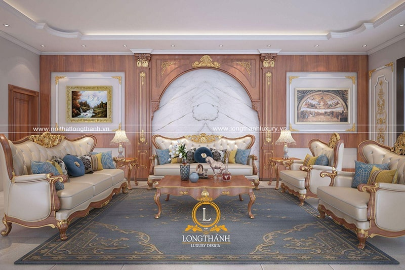 Không gian phòng khách đẳng cấp hoàng gia với bộ sofa tân cổ điển