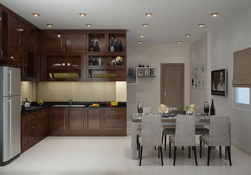 Thi công thiết kế nội thất phòng bếp theo không gian mở